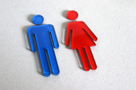 Blue male and red female sign.