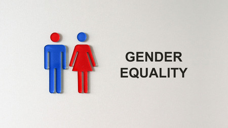 The text GENDER EQUALITY. Gender equality concept.