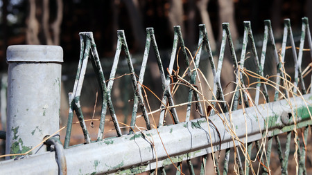 Close-up image of the wire fence. Stock Photo