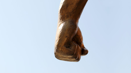 The fist of a statue.