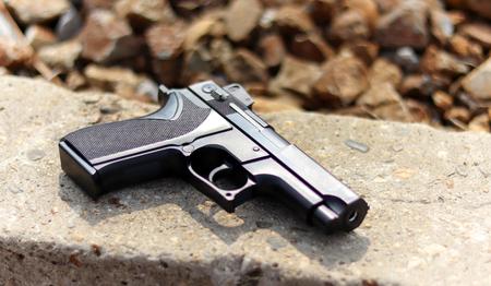 Close-up image of the gun. 写真素材