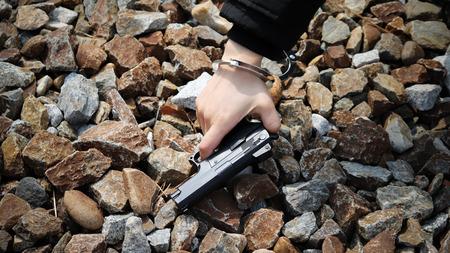Handcuffs and guns.