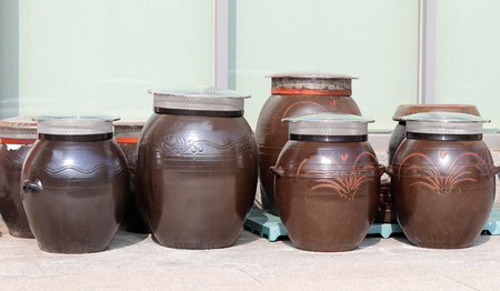 Jars containing Korean traditional sauces.