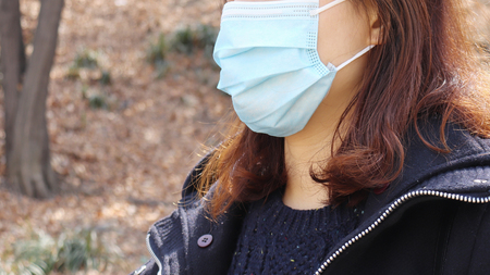 Concept of the necessity to wear mask during outdoor activities.