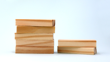 A pile of five wooden blocks. Stockfoto