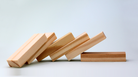 Close-up image of the six wooden blocks of wood that fell on one side. Stockfoto