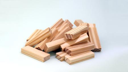Stacked blocks of wood. Stockfoto