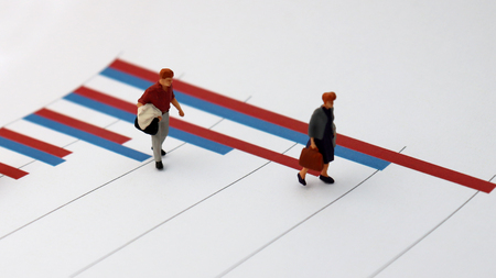 Miniature people standing on a bar graph. Social statistics and peoples concepts. Stock Photo