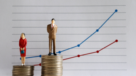 A miniature man and a miniature woman standing on top of a pile of coins at different heights in front of a linear graph. The concept of a persistent wage gap between men and women.