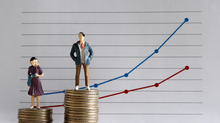 A miniature man and a miniature woman standing on top of a pile of coins at different heights in front of a linear graph. The concept of a growing wage between men and women.