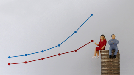 A miniature couple sitting on a pile of coins in front of a linear graph. The concept of gender wage differentials.