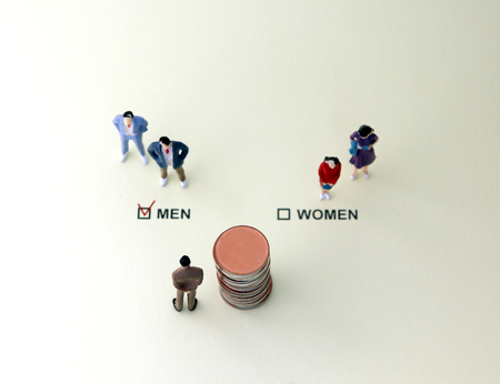 MEN and WOMEN check boxes with red check mark in the MEN box. The concept of gender discrimination in employment. Stock Photo