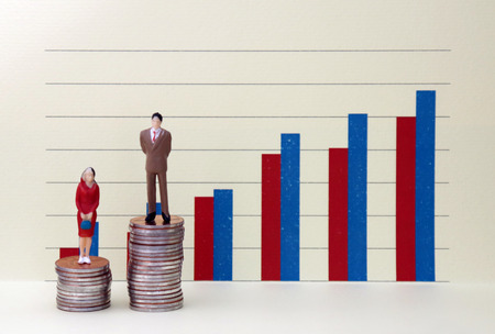 A miniature man and woman standing on a pile of coins in front of a bar graph. The concept of the income gap between men and women should be addressed socially. Stock Photo