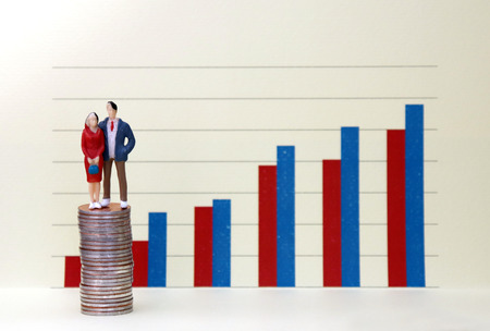 A miniature man and woman standing on a pile of coins in front of a bar graph. The concept of persistent gender inequality.