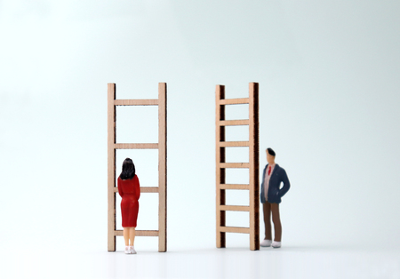Miniature men and women standing in front of different ladders. The concept of gender differentiation between promotion and employment. Standard-Bild - 100727171