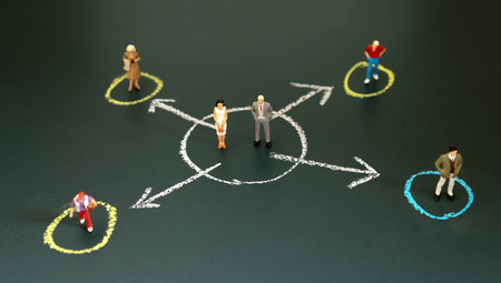 Miniature people each standing in a different circle. The concept of economic divisions that exist between individuals.