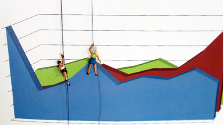 The miniature climbers use a rope to climb the three dimensions area graph. Competitive concepts between individuals.