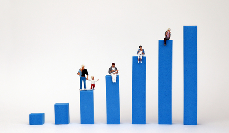 Stock photography The bar graph on a white background. The concept of income gap between individuals. Stock Photo