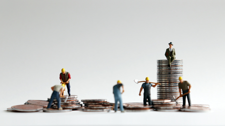 The concept of differences between hard-working workers and employers to make money. Coins and miniature people.