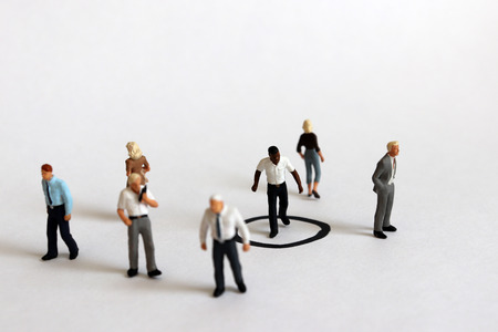 Miniature people. The concept of black discrimination. Stock fotó - 117500515