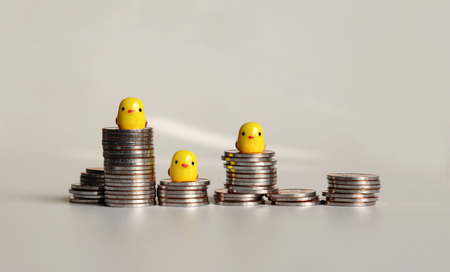 The pile of coins and miniature chicks.