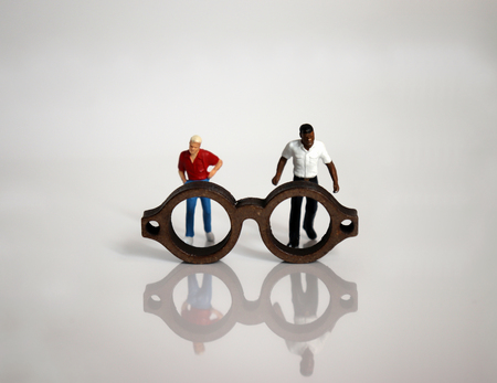 Miniature glasses and miniature people.