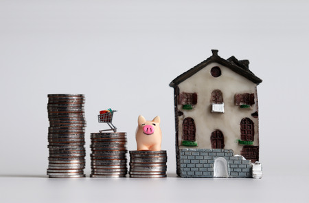 A pink pig and a shopping cart on three piles of stepped coins next to a miniature house.