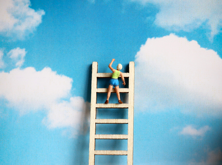 Stock photography A wooden ladder on a sky background. Stock Photo