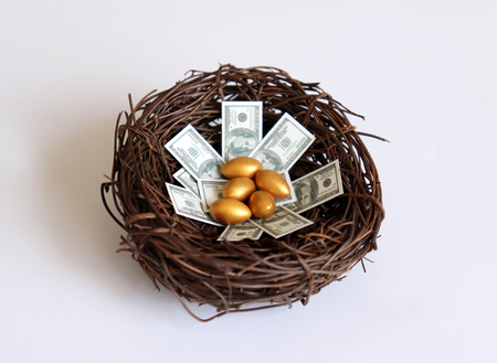 Golden eggs and dollars on a nest.