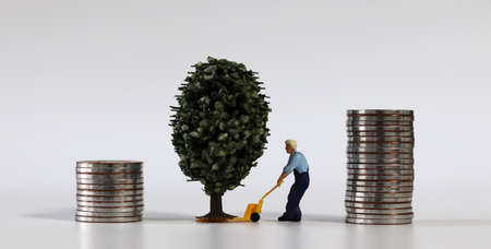 Piles of coins and miniature tree and miniature man.