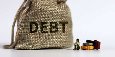 bundle bearing the word DEBT a bundle and a miniature woman. The concept of the risk of excessive debt. 版權商用圖片
