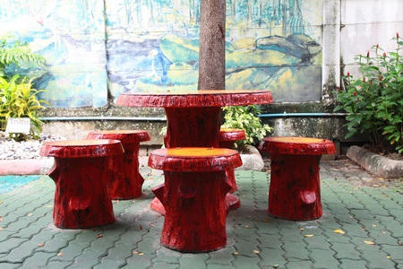 Outdoor wood furniture. photo