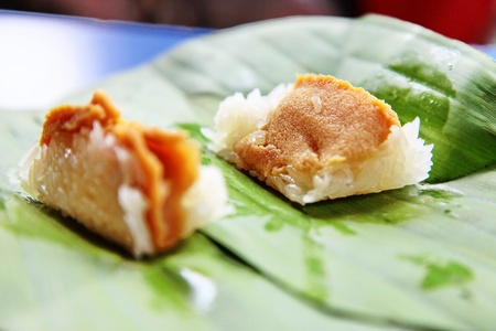 Custard on a banana leaf rice. photo