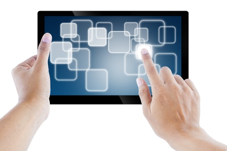 tablet computer Isolated on white background and hand Stock Photo - 10987138