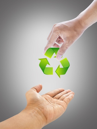 men hand and recycle sign for green world concept