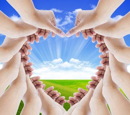 hands make hearts isolated  photo