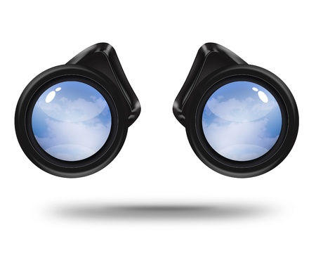 Black binoculars with sky on white background. Freedom concept  Stock Photo - 11430370