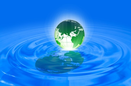 World globe in blue water  Stock Photo - 11430369