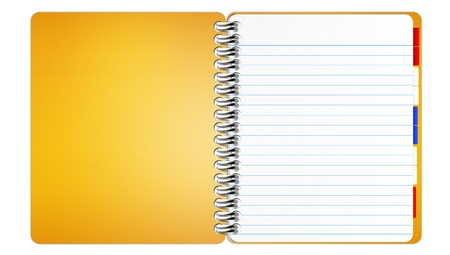 Orange notebook on a white background  photo