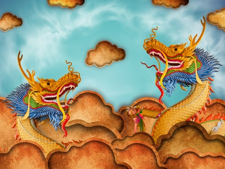 The Dragon status isolated on blue sky background