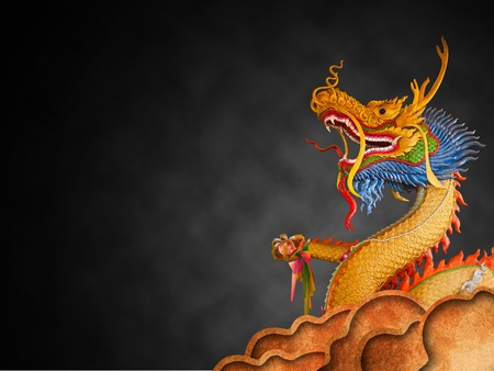 Dragon statue on sky dark night photo