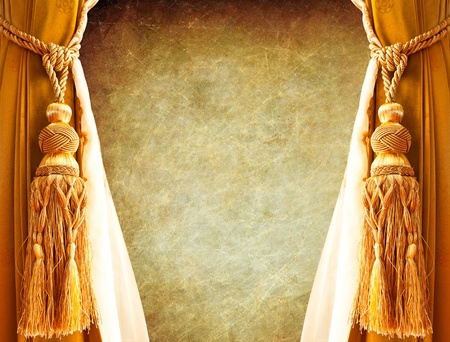 curtain yellow gold on retro background photo