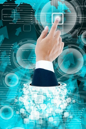 hand of business man pushing a button on a touch screen interface Stock Photo - 13003102