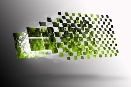 Abstract digital green background with arrows  Stock Photo