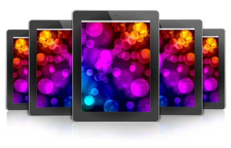 ecologic ipad design tablet PC, background bokeh color photo
