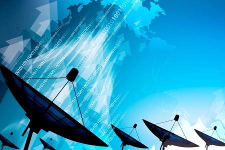 Satellitenschüssel Übertragungsdaten Standard-Bild - 14644361