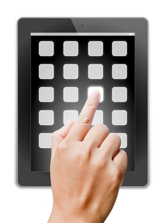 hand of business man holding and touching on touch pad Stock Photo - 14787497
