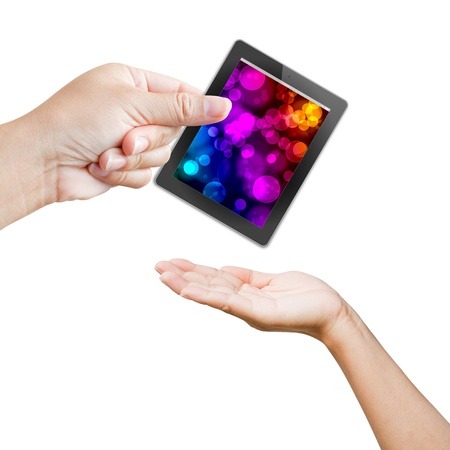 hand of business women holding and touching on touch pad  photo