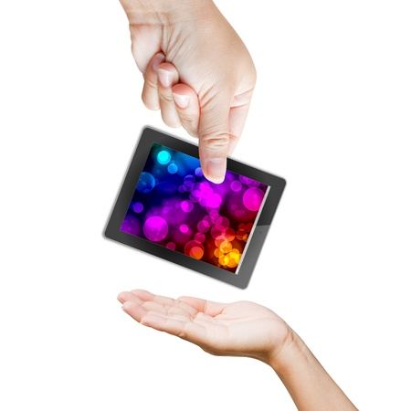 hand of business man holding and touching on touch pad  photo