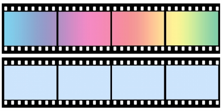 Curved film color sheet on background gray photo